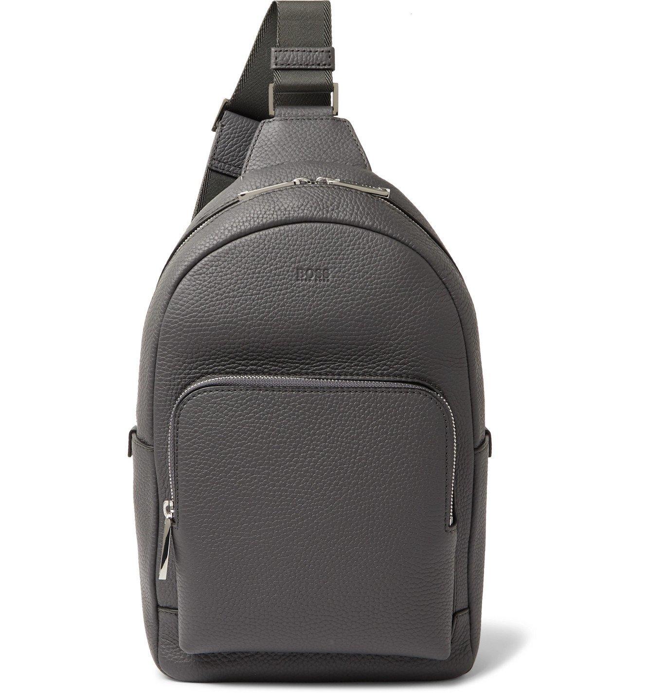 Photo: Hugo Boss - Crosstown Full-Grain Leather Backpack - Gray