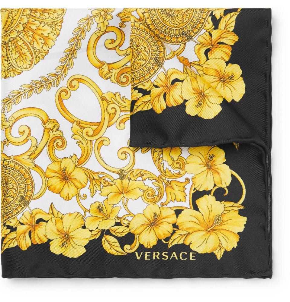Photo: Versace - Printed Silk-Twill Pocket Square - Men - Multi