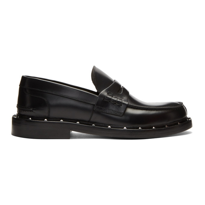 Photo: Valentino Black Valentino Garavani Studded Moccasin Loafers