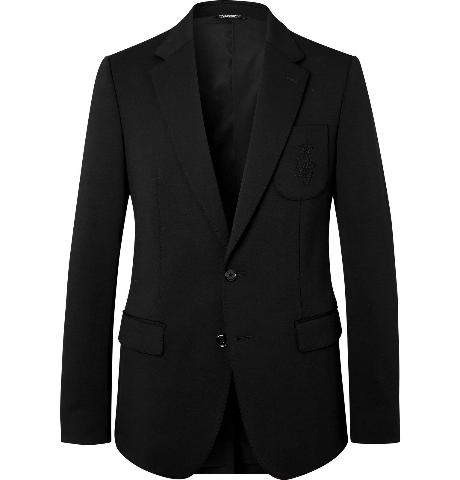 Photo: Dolce & Gabbana - Slim-Fit Unstructured Logo-Embroidered Wool-Blend Jersey Blazer - Black