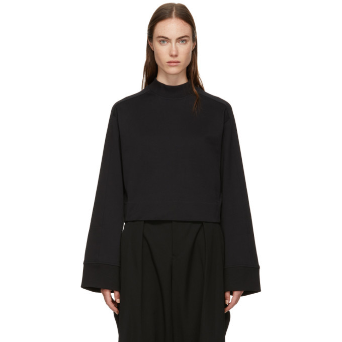 Photo: Y-3 Black High Collar Cropped Sweater
