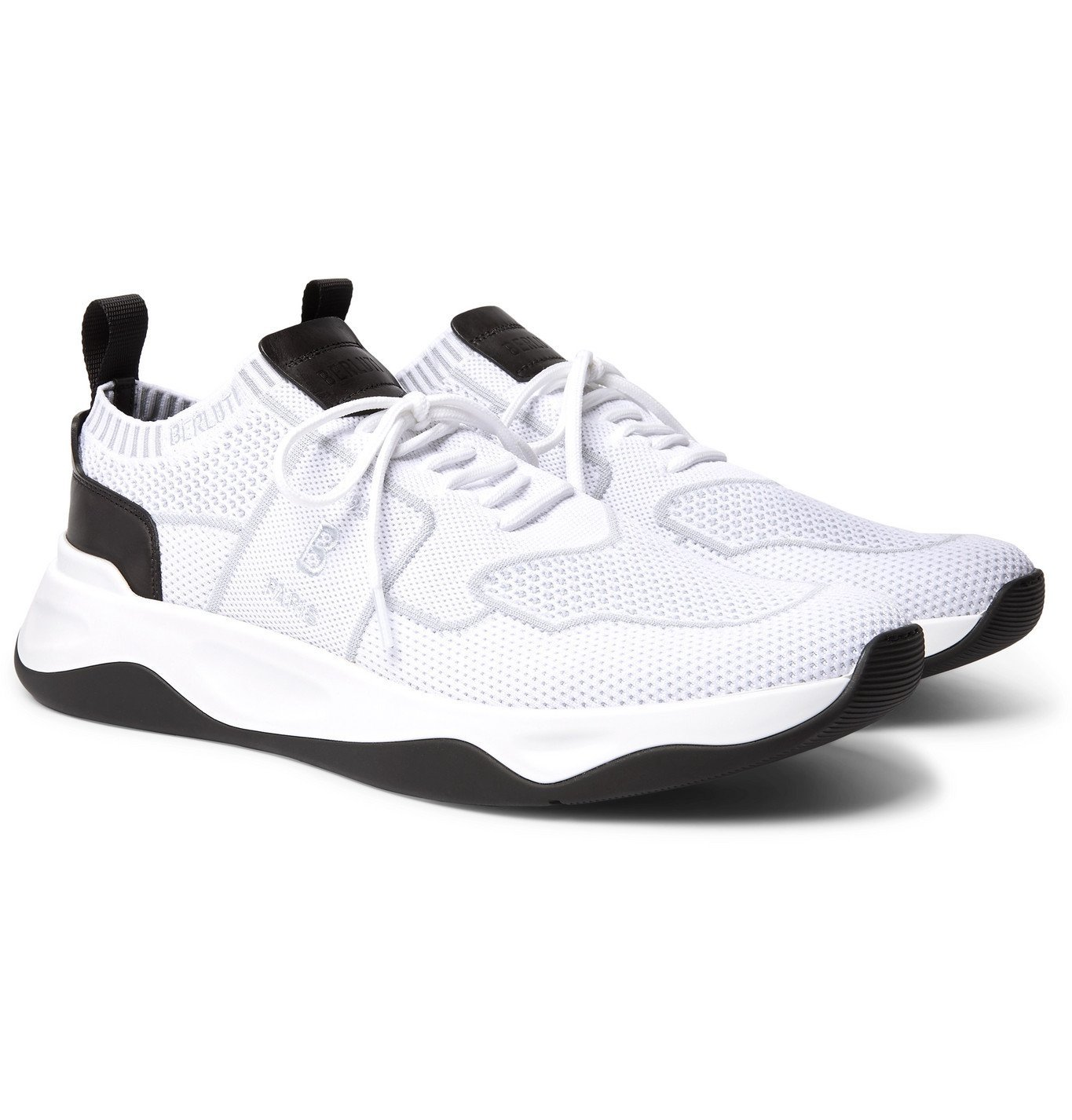 Photo: Berluti - Leather-Trimmed Mesh Sneakers - White