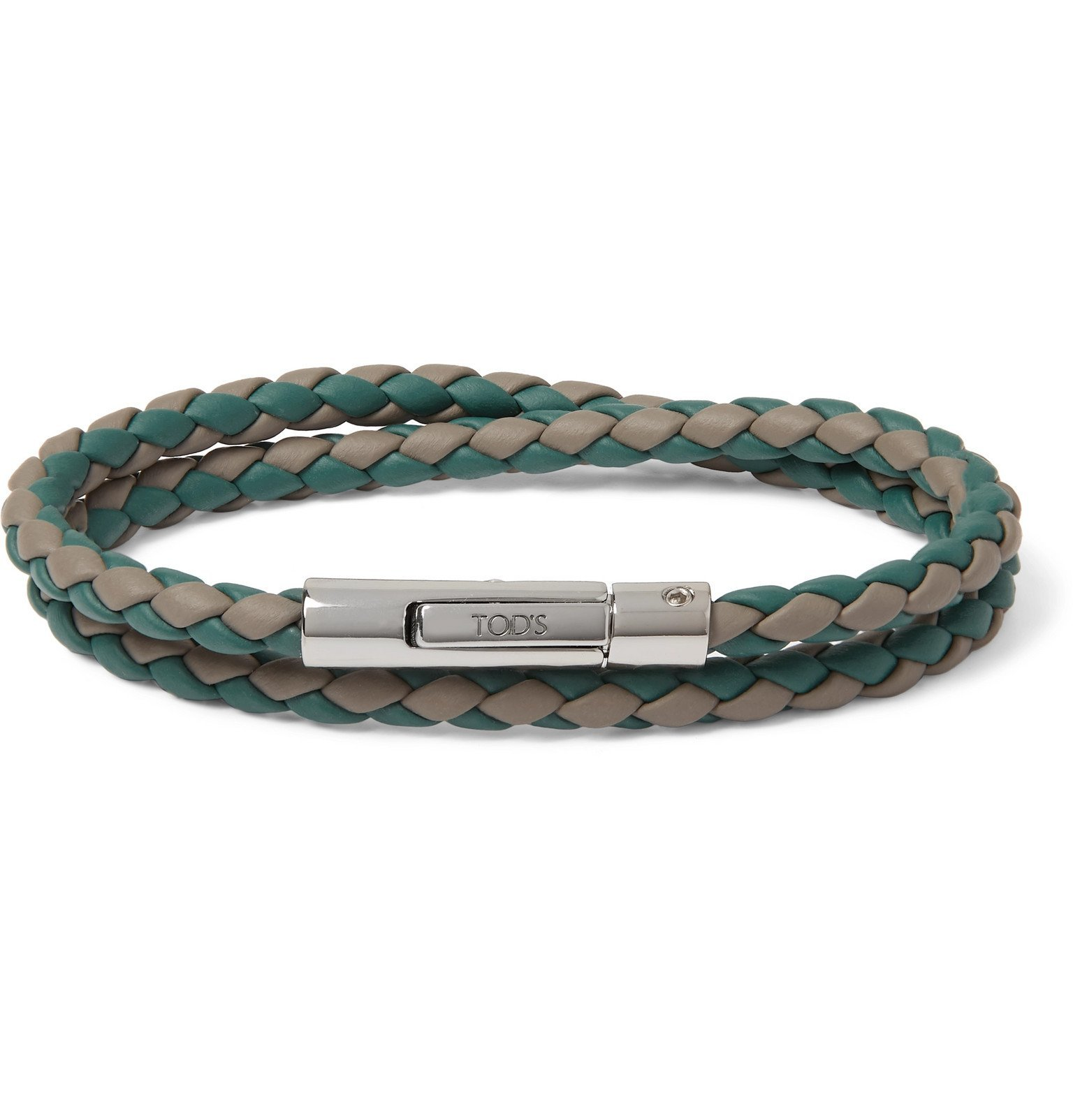Photo: Tod's - Woven Leather and Silver-Tone Wrap Bracelet - Green