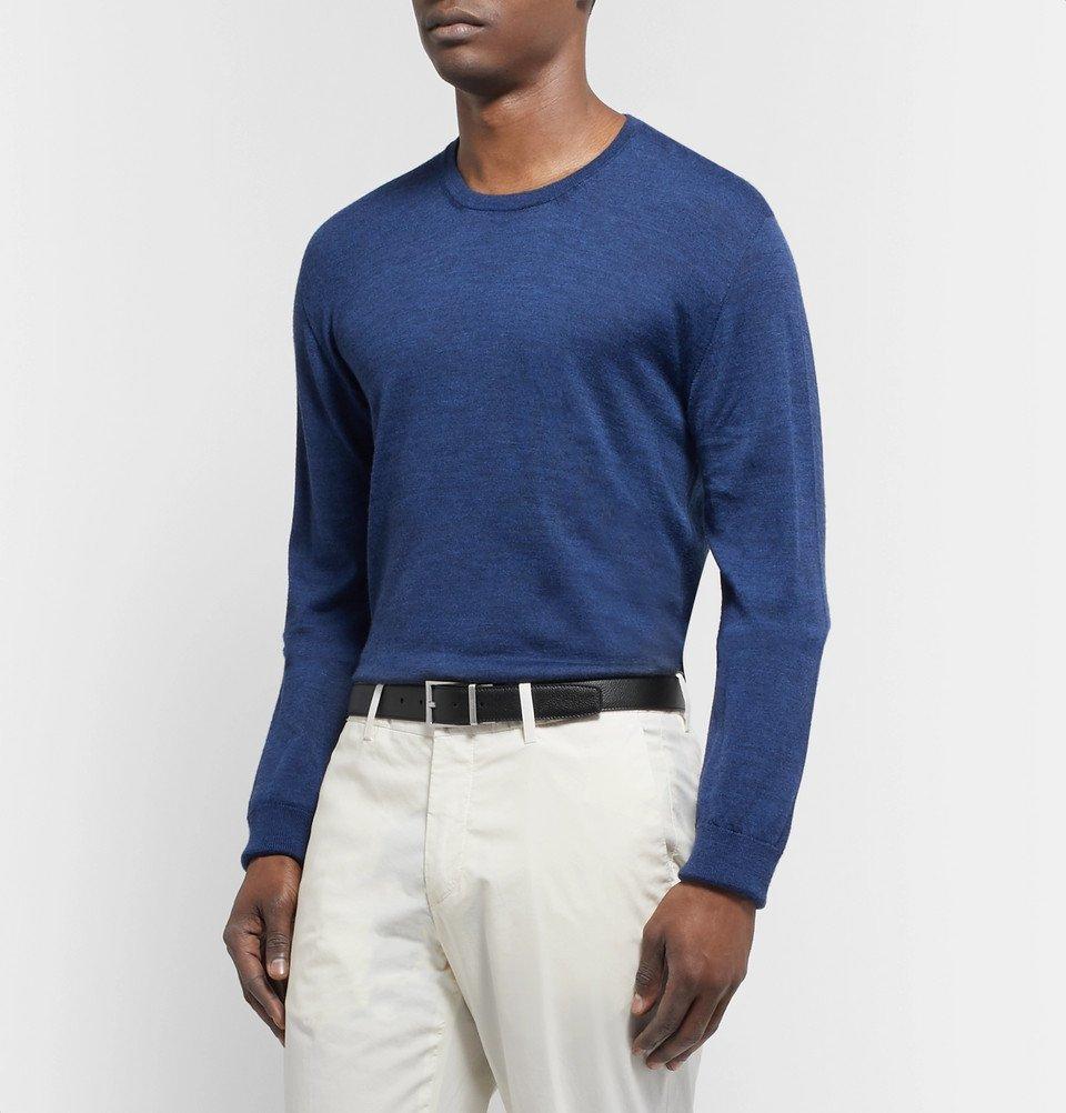 Tod's - 3.5cm Black and Midnight-Blue Reversible Full-Grain Leather Belt - Black
