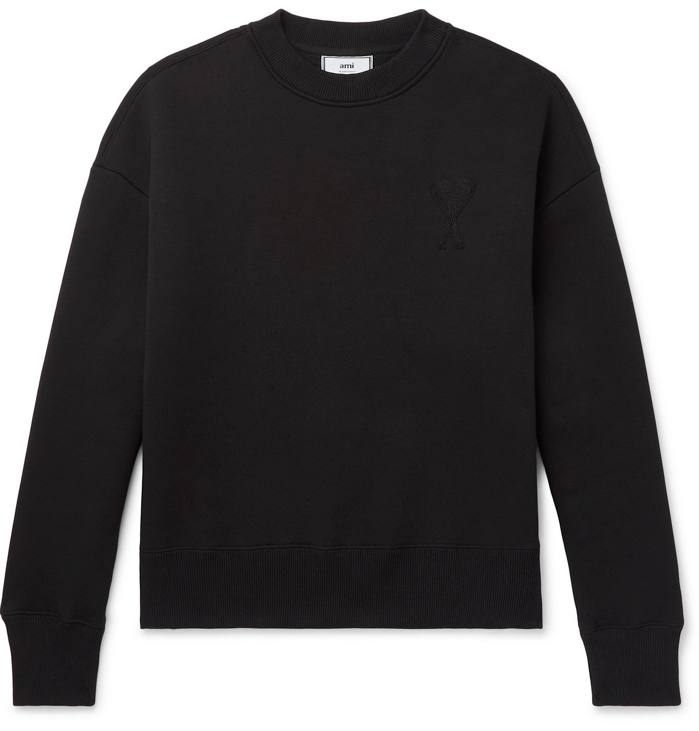 Photo: AMI - Logo-Embroidered Fleece-Back Cotton-Blend Jersey Sweatshirt - Black