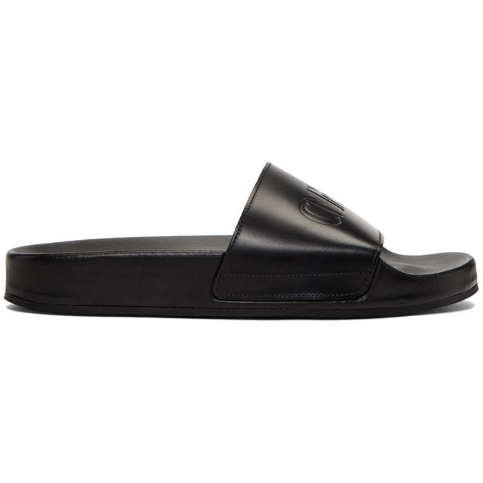 Photo: CMMN SWDN Black Leather Pool Slides