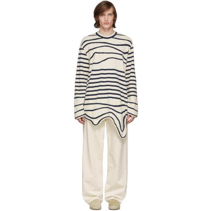 Photo: Lanvin Navy and Off-White Stripe Asymmetric Pullover