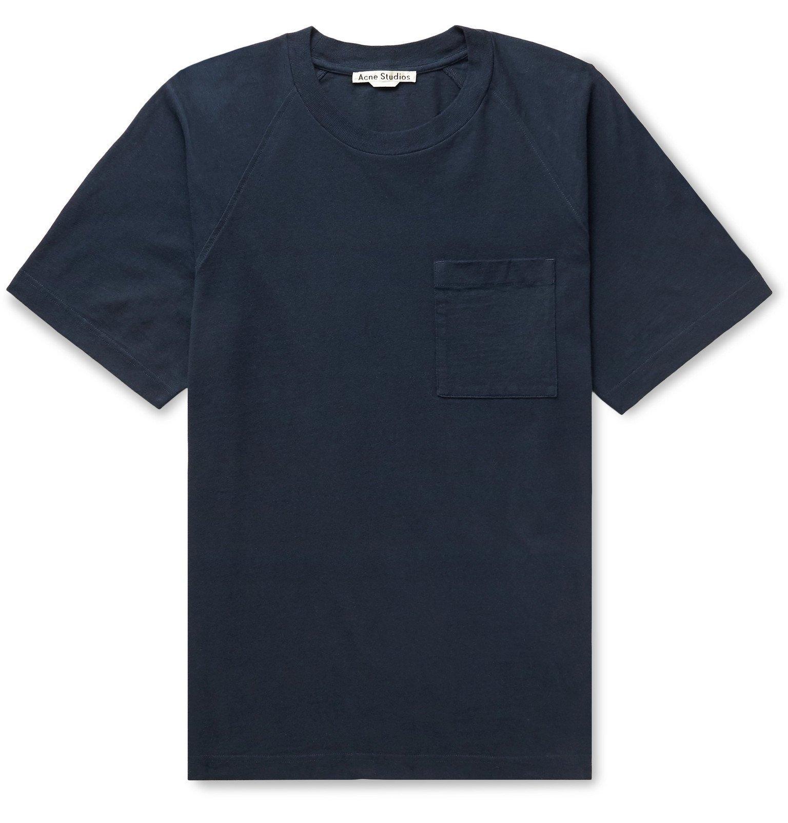 Photo: Acne Studios - Emeril Logo-Appliquéd Organic Cotton-Jersey T-Shirt - Blue