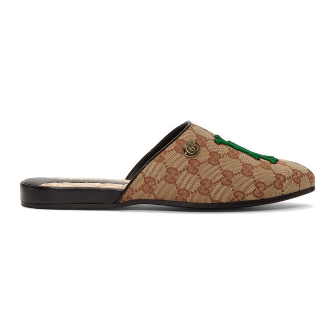 Photo: Gucci Beige LA Dodgers Edition Flamel Patch Loafers