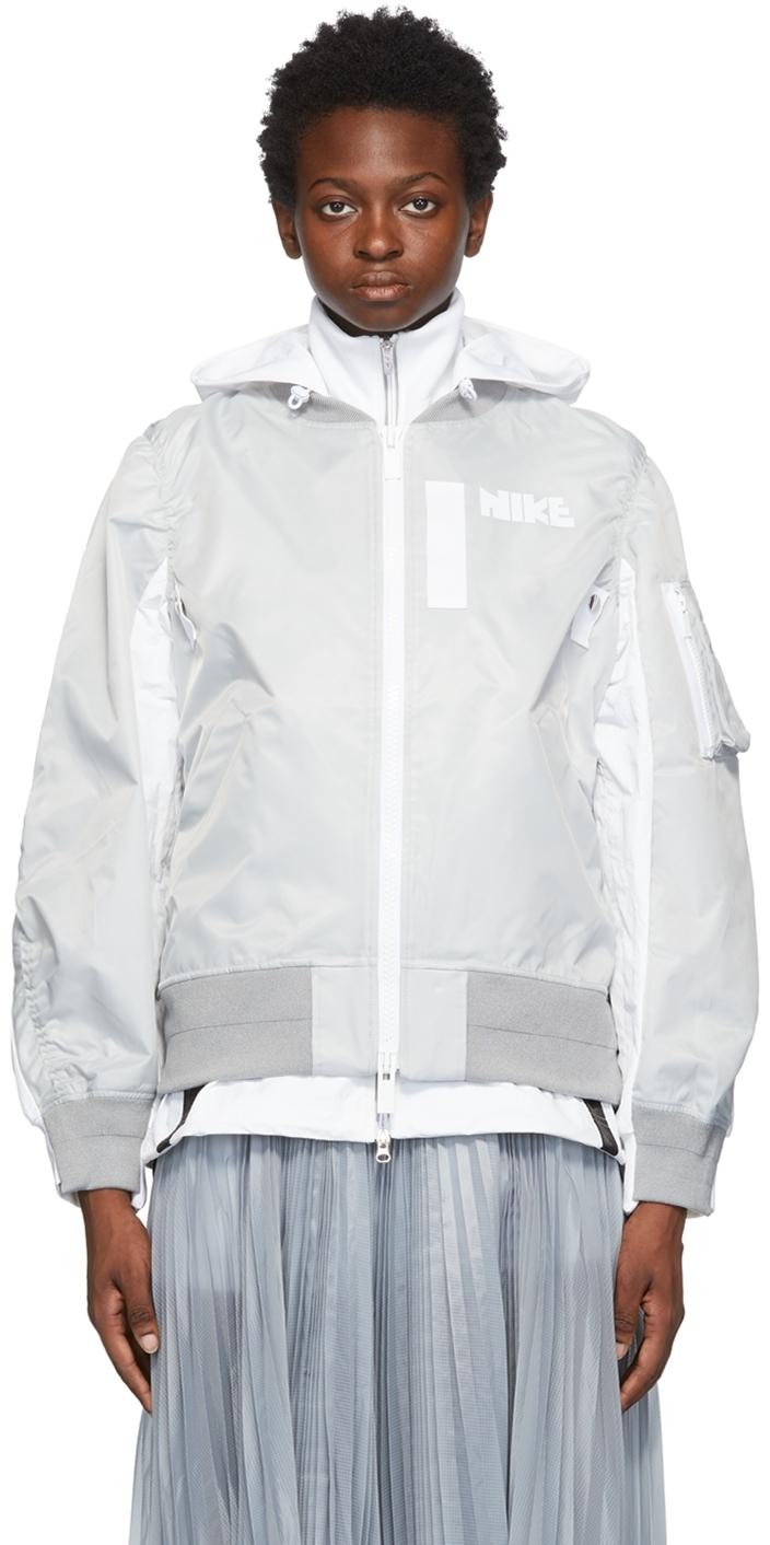 Photo: Nike Grey Sacai Edition Layered Bomber Jacket