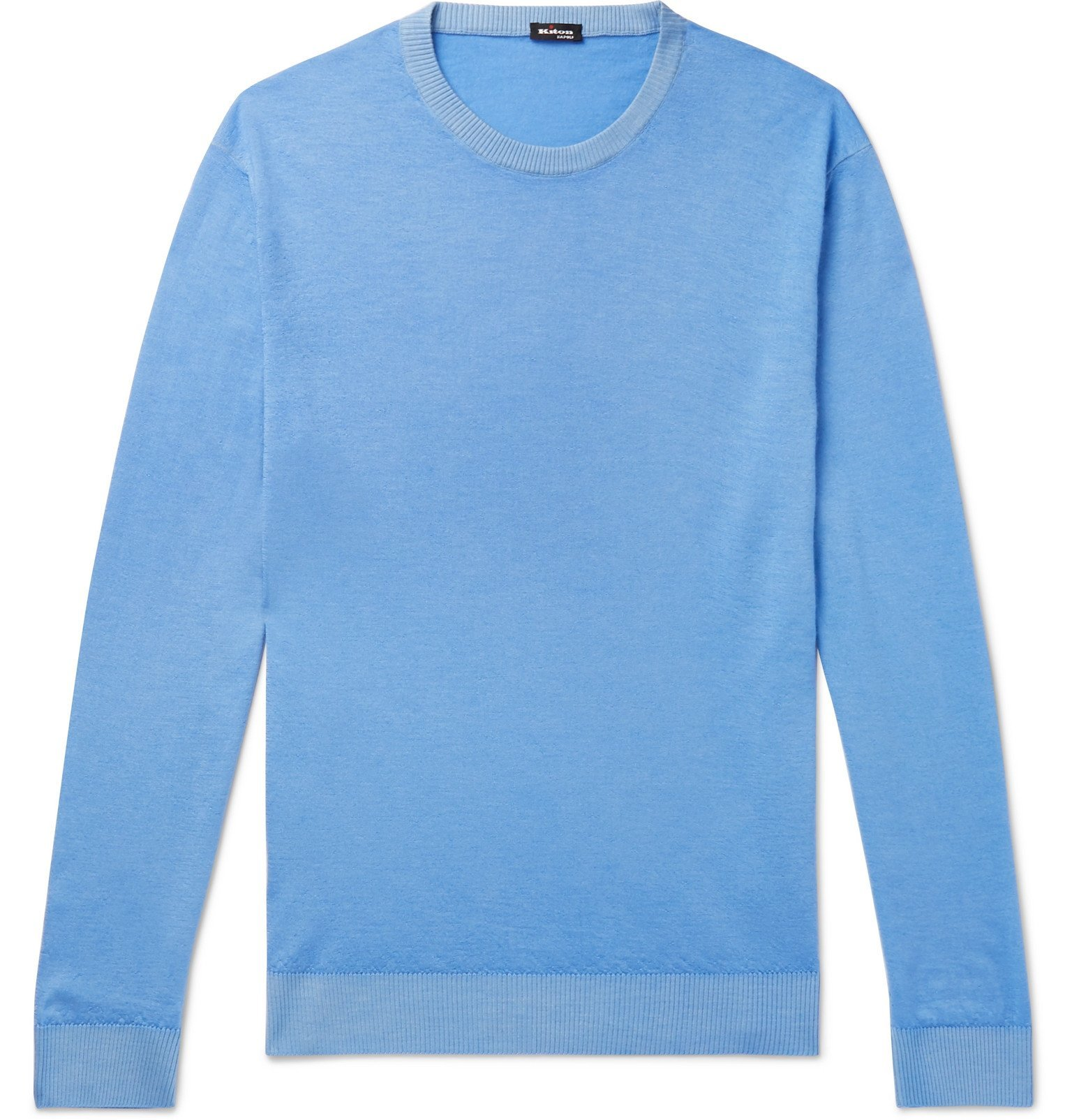 Photo: Kiton - Slim-Fit Cashmere and Silk-Blend Sweater - Blue