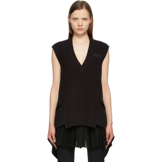 Sacai Black Knit Suiting Pullover V-Neck Vest