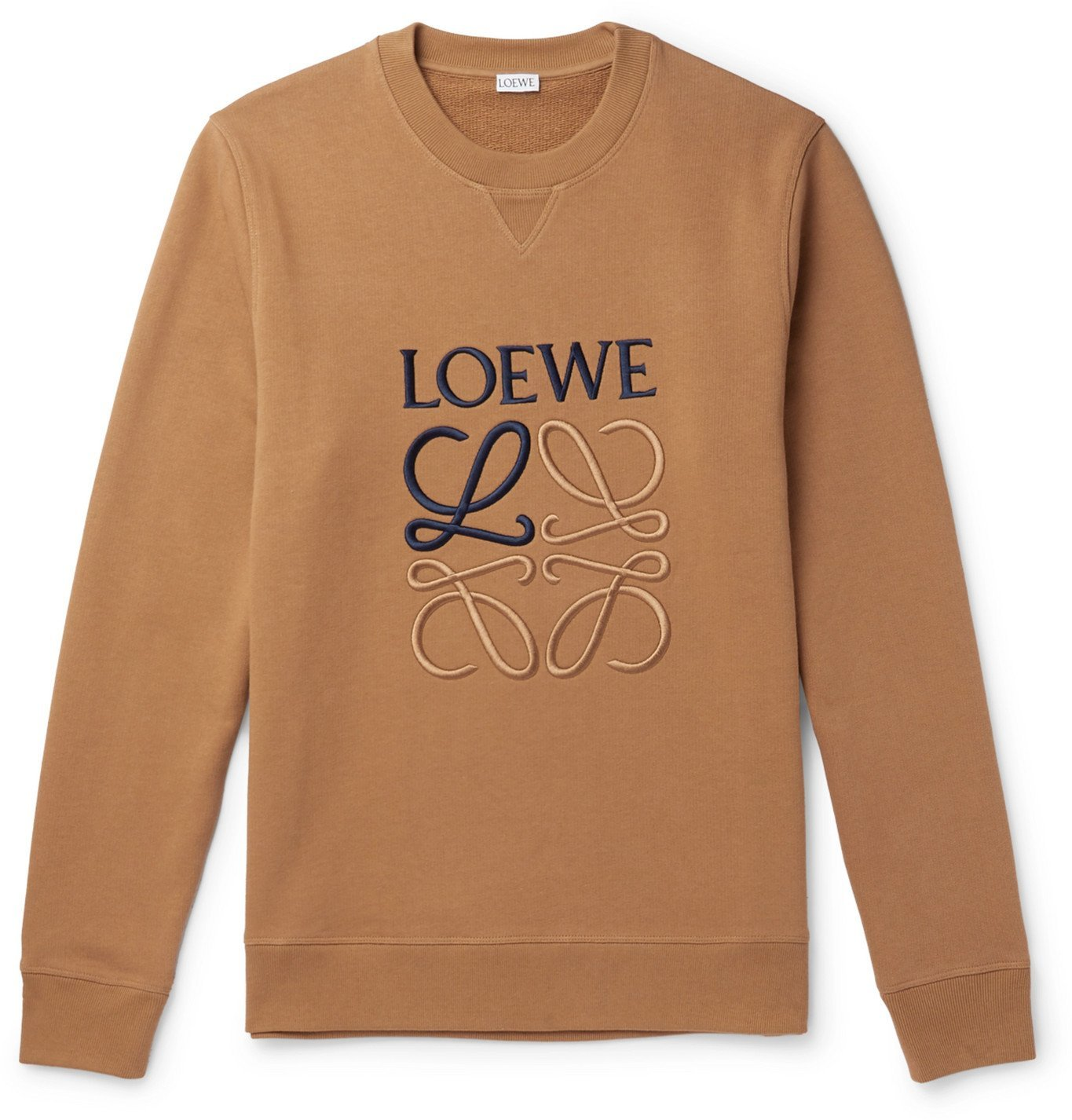 Photo: Loewe - Slim-Fit Logo-Embroidered Loopback Cotton-Jersey Sweatshirt - Brown