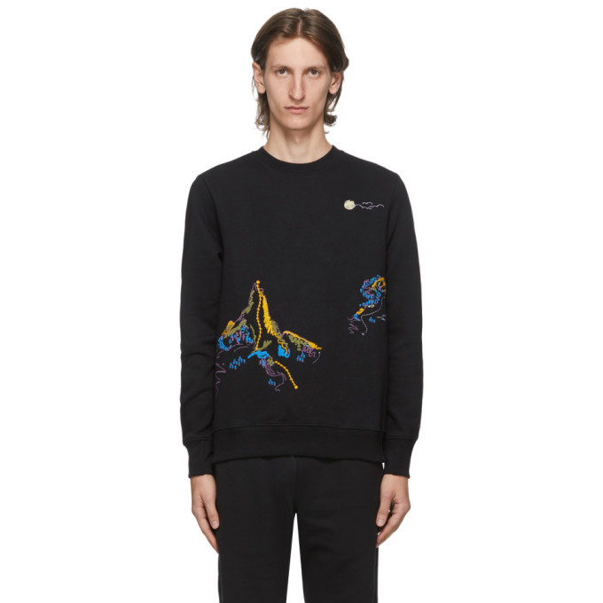 Photo: PS by Paul Smith Black Embroidered Mountain Sketch Sweatshirt