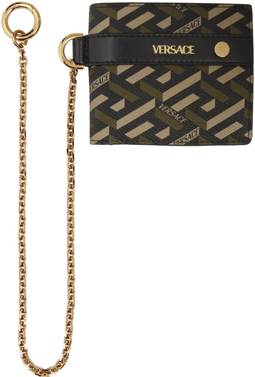 Photo: Versace Khaki Monogram On Chain Bifold Wallet