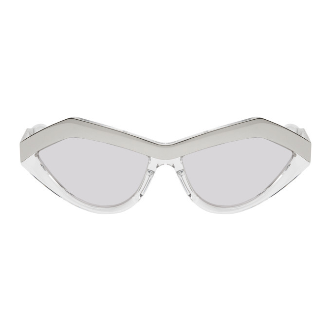 Photo: Bottega Veneta Silver Cat-Eye Sunglasses
