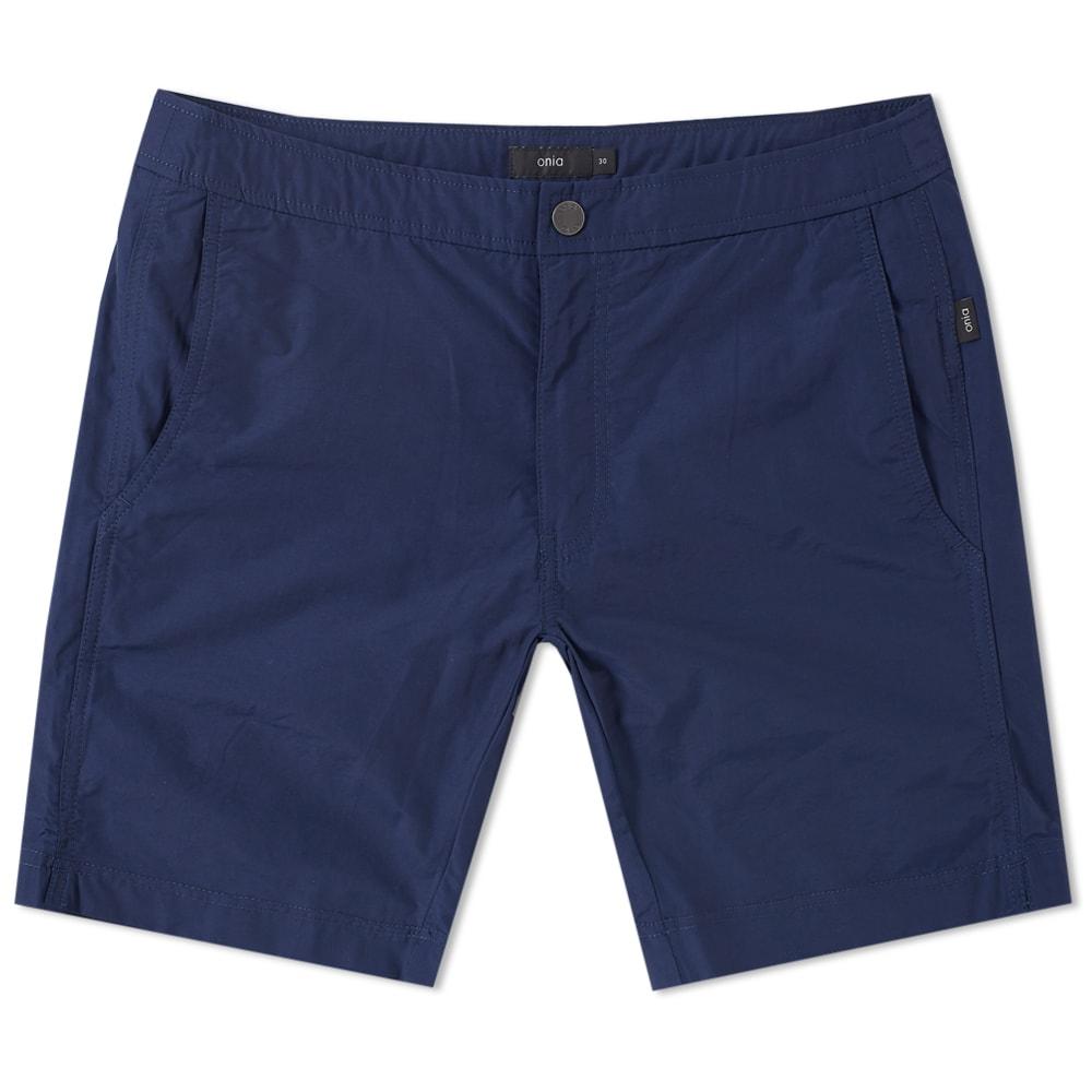"Photo: Onia Calder 7.5"" Solid Swim Short Blue"