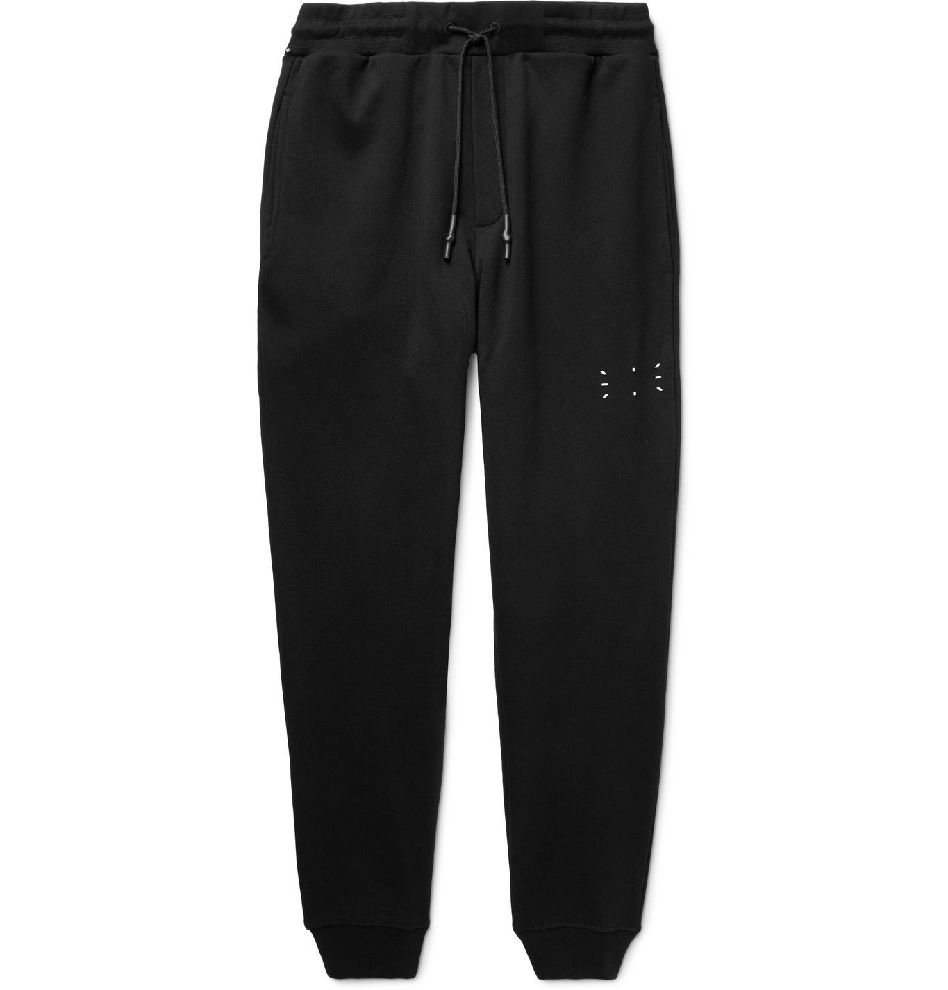 Photo: MCQ - Tapered Appliquéd Loopback Cotton-Jersey Sweatpants - Black