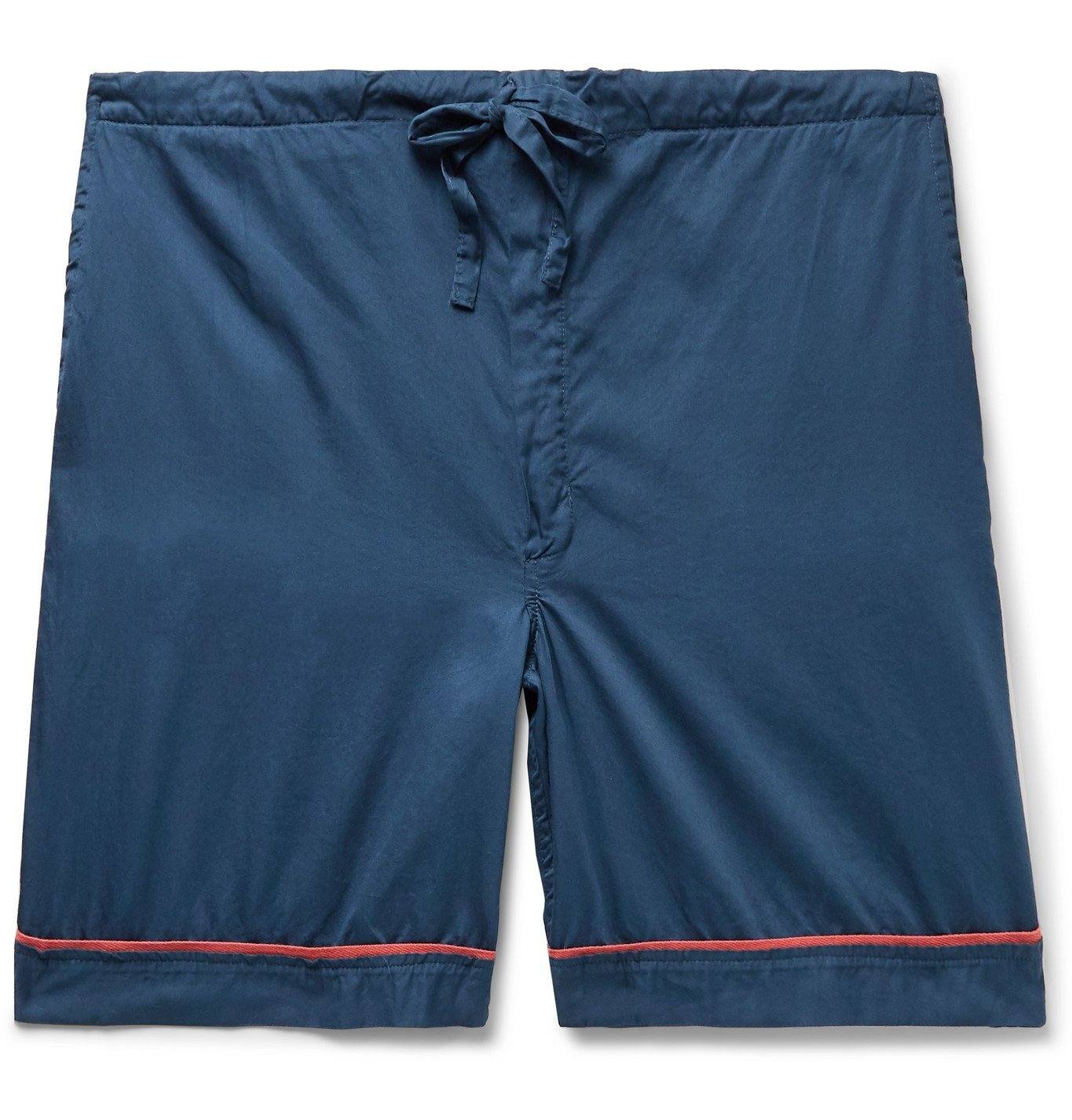 Photo: Cleverly Laundry - Piped Garment-Dyed Washed-Cotton Pyjama Shorts - Blue