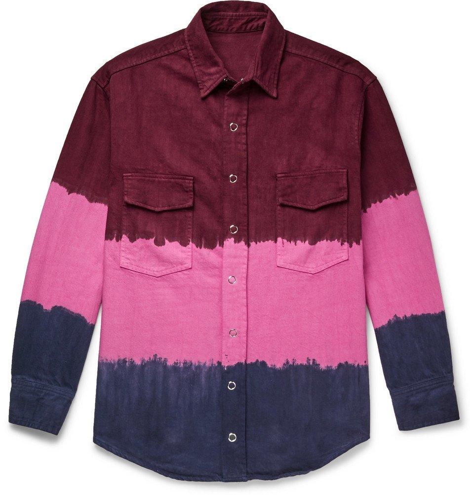 Photo: The Elder Statesman - Tie-Dyed Denim Overshirt - Pink