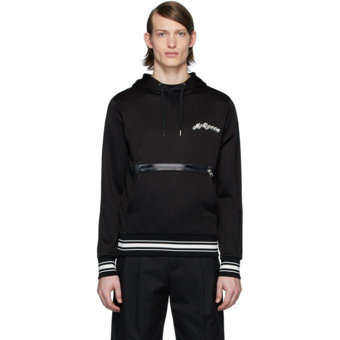 Photo: Alexander McQueen Black Embroidered Logo Hoodie