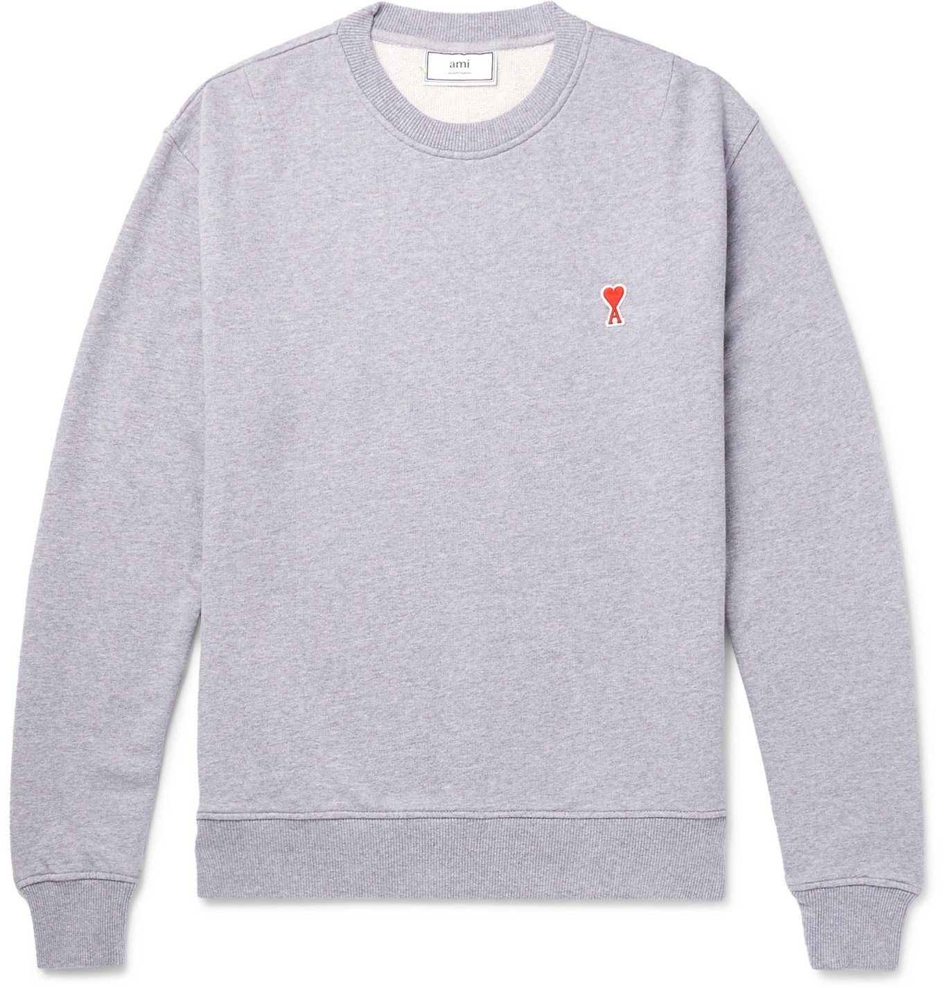 Photo: AMI - Logo-Appliquéd Mélange Loopback Cotton-Jersey Sweatshirt - Gray