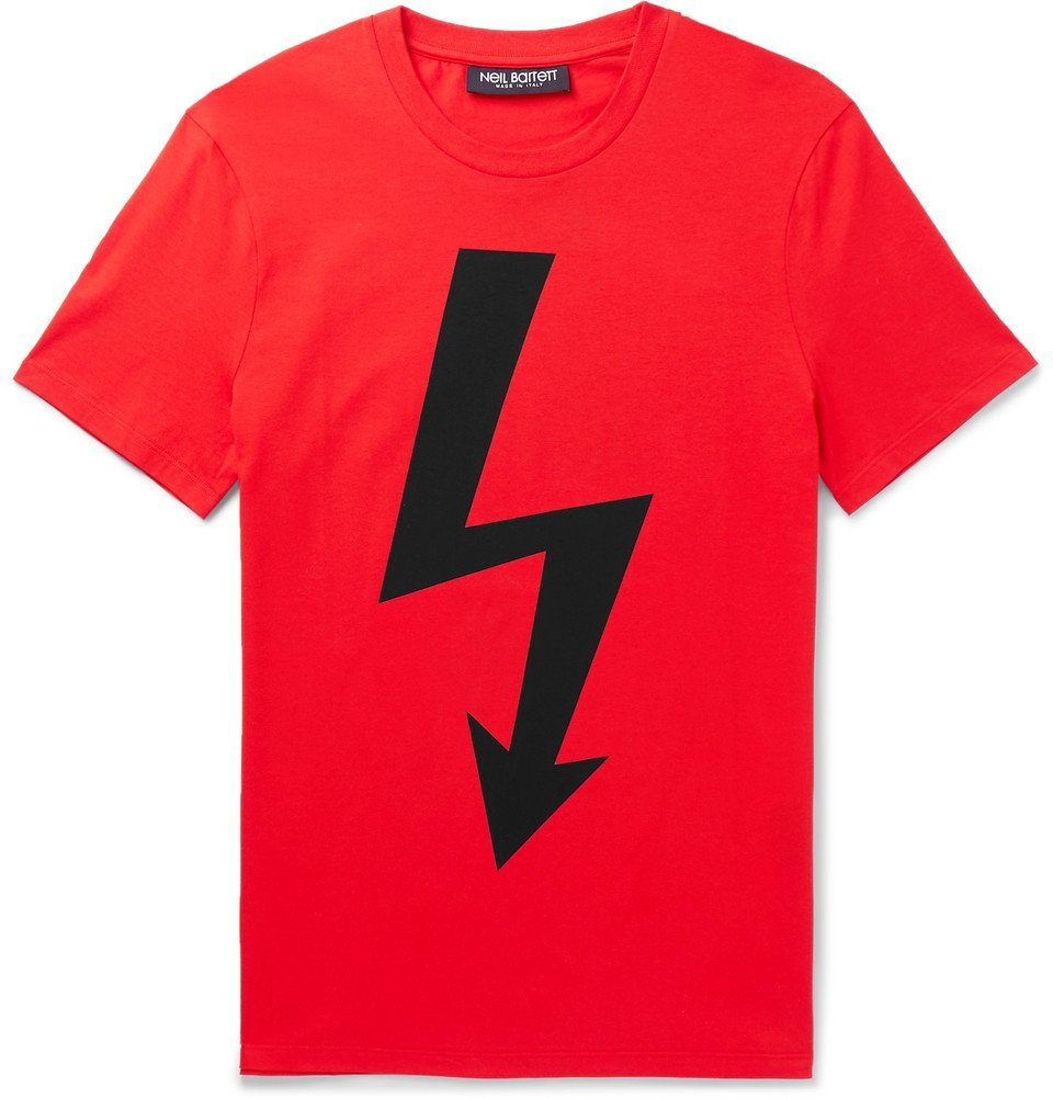 Photo: Neil Barrett - Slim-Fit Logo-Print Stretch-Cotton Jersey T-Shirt - Men - Red