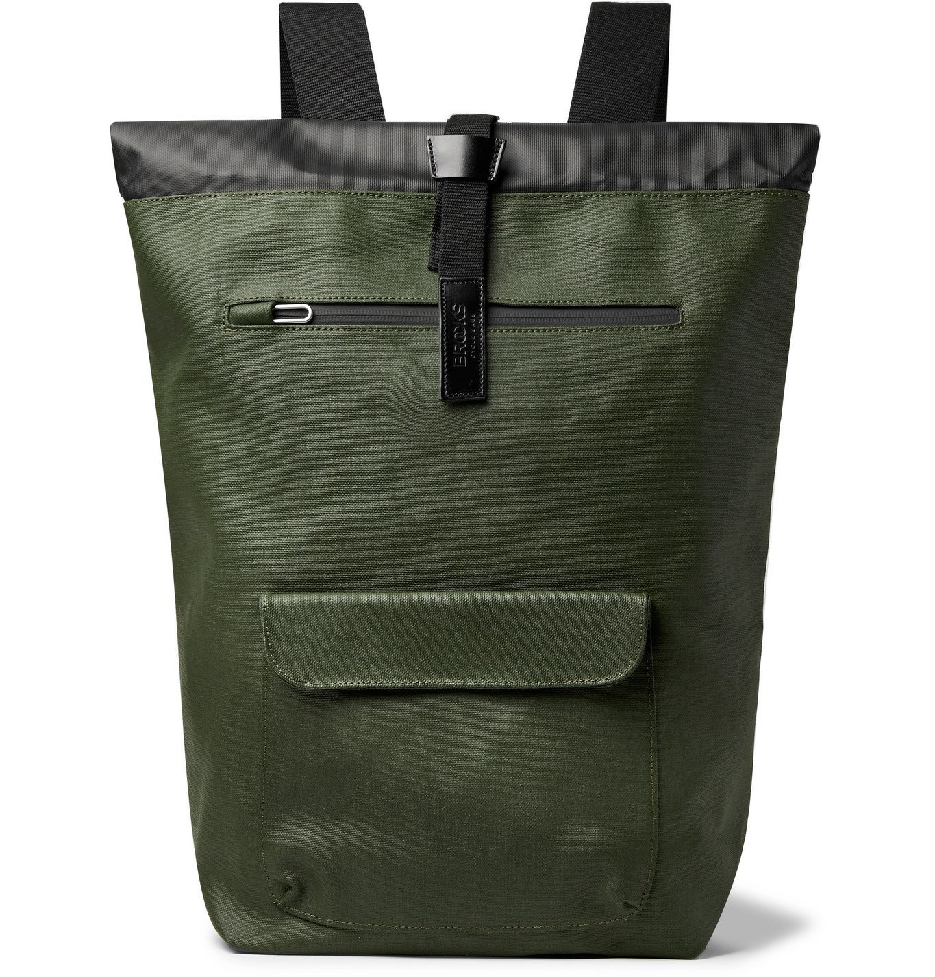 Photo: Brooks England - Rivington Leather-Trimmed Coated Cotton-Canvas Backpack - Green