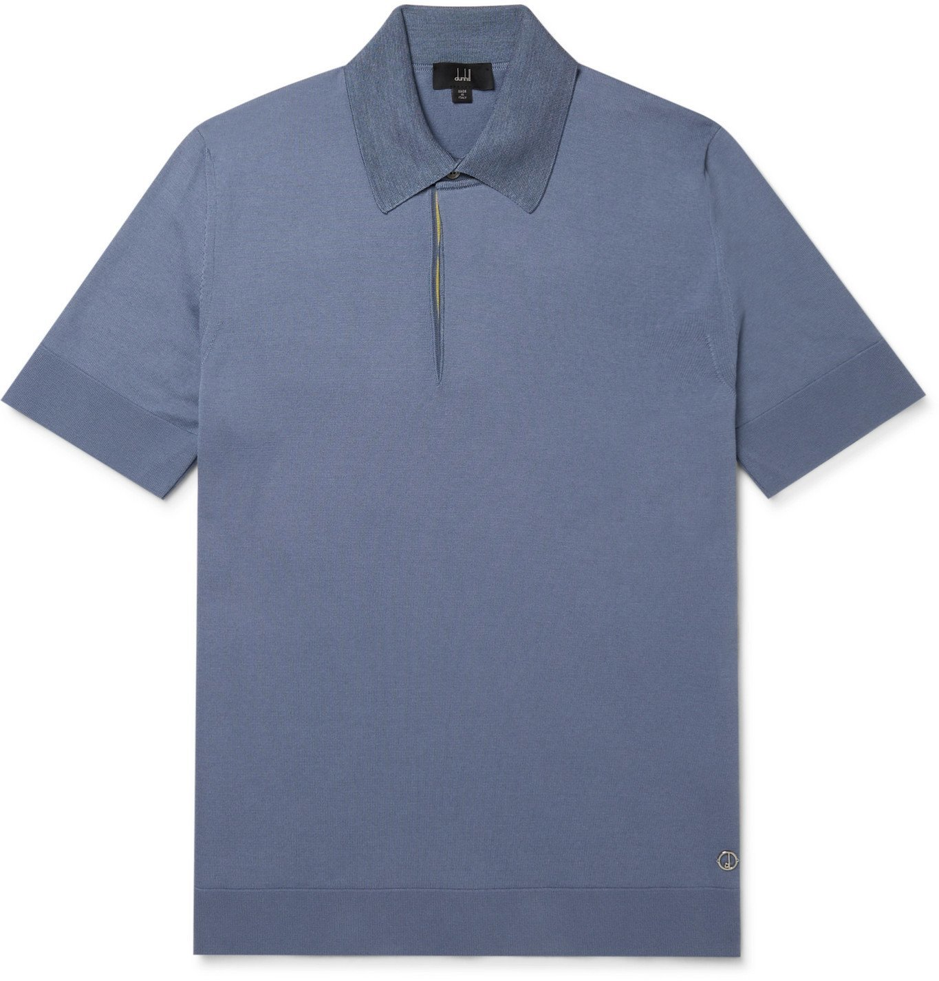 Photo: DUNHILL - Logo-Detailed Cotton and Mulberry Silk Polo Shirt - Blue