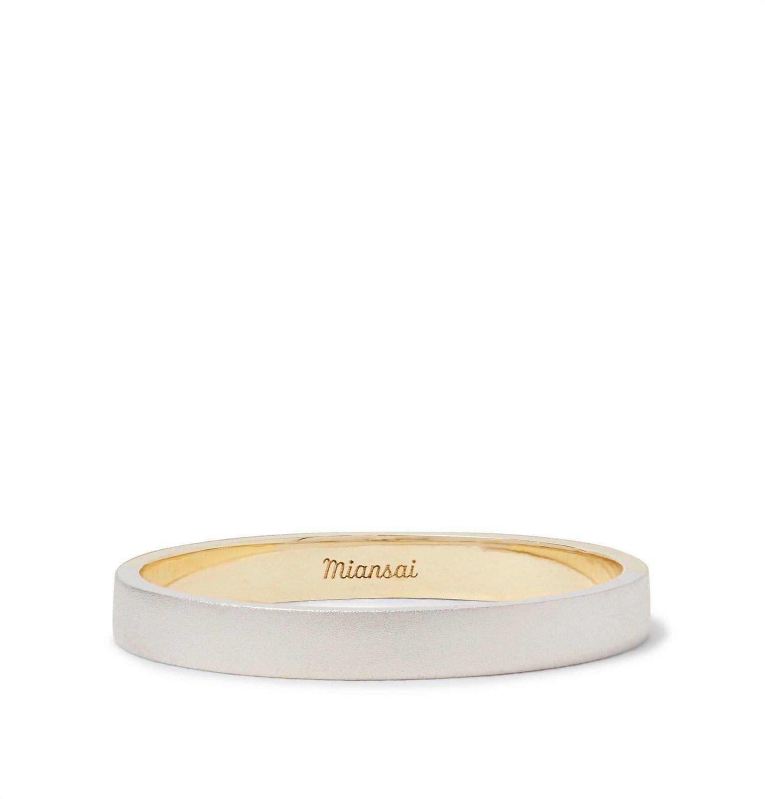 Photo: Miansai - Edge Matte 14-Karat White and Yellow Gold Ring - Gold
