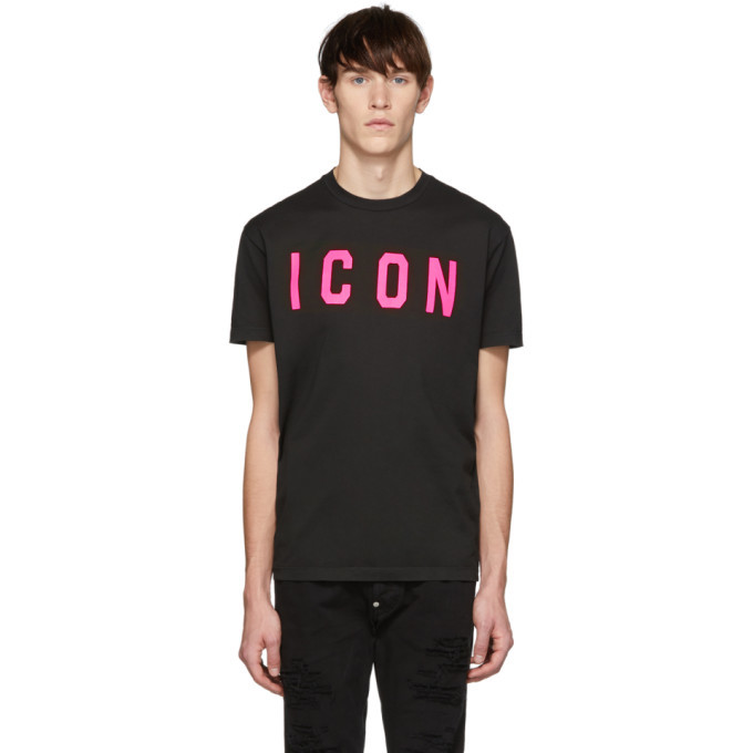 Photo: Dsquared2 Black and Pink Acid Punk Icon Cool Fit T-Shirt