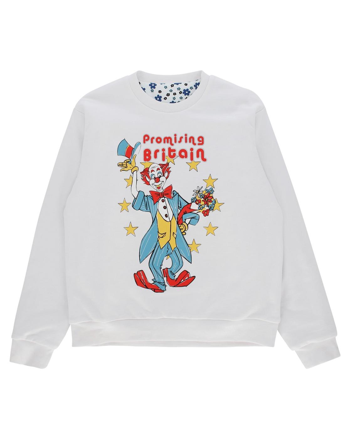 Martine Rose Reversible Clown Artwork Crewneck Sweatshirt White
