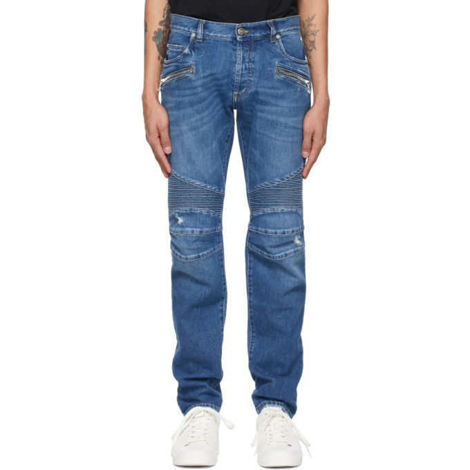 Photo: Balmain Blue Ribbed Tapered Jeans