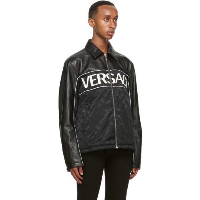 Versace Black Leather Blouson Jacket
