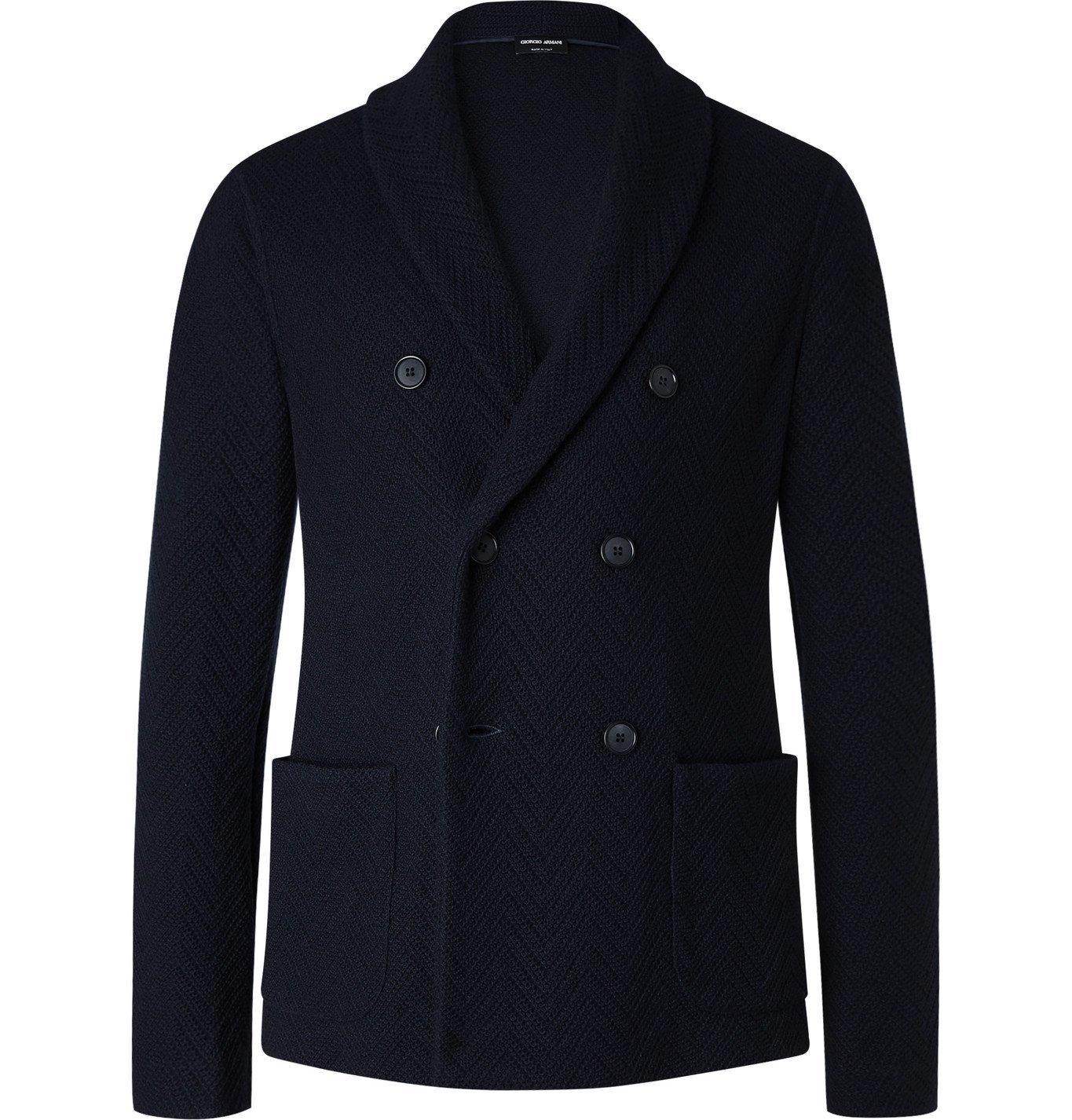 Photo: Giorgio Armani - Double-Breasted Herringbone Virgin Wool and Cashmere-Blend Blazer - Blue