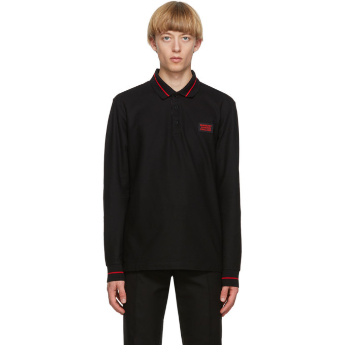 Photo: Burberry Black Logo Applique Genford Long Sleeve Polo