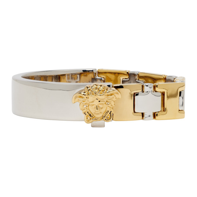 Photo: Versace Gold and Silver Two-Tone Line Bracelet