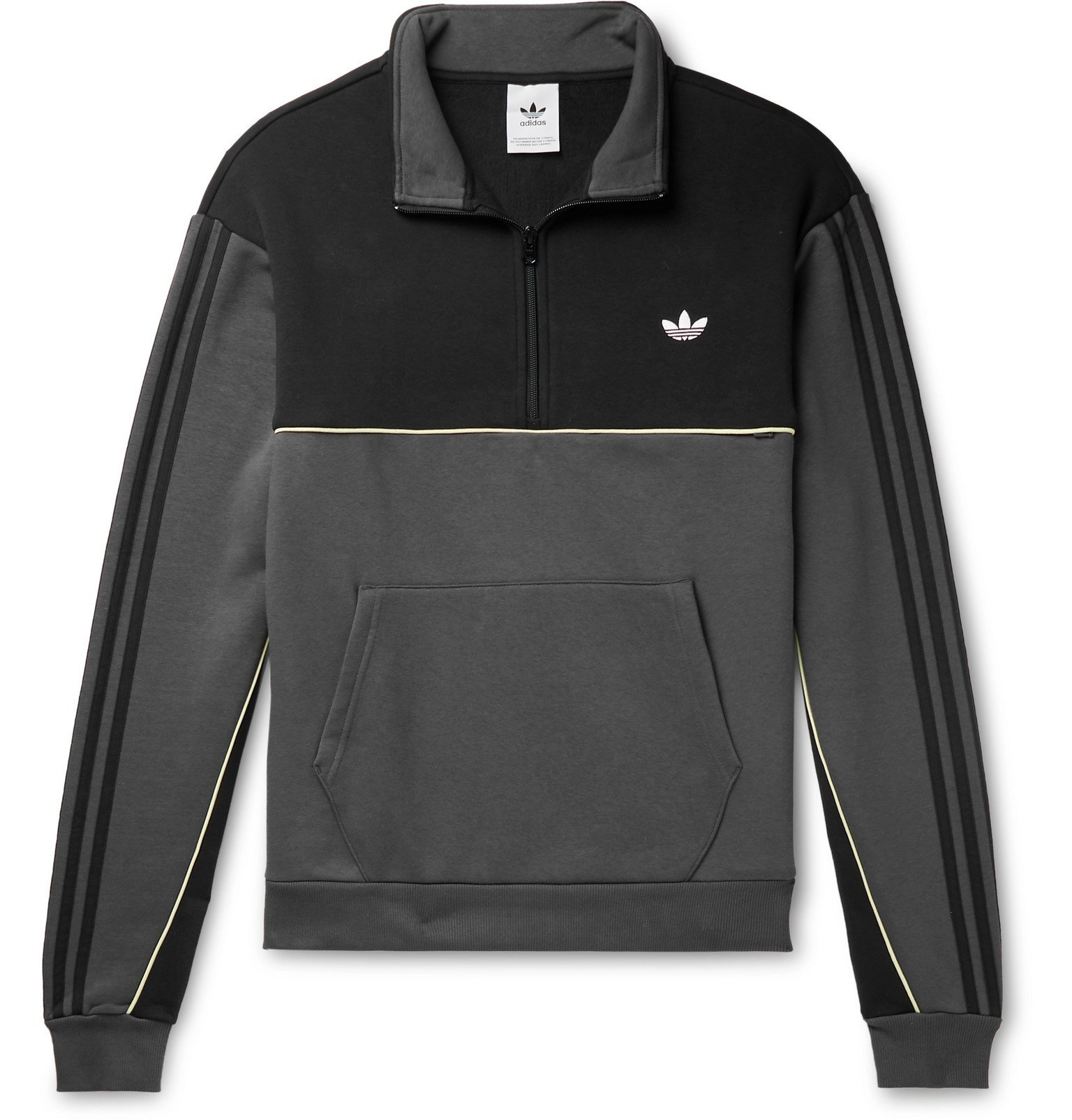 adidas Originals - Colour-Block Logo-Embroidered Fleece-Back Half-Zip Sweatshirt - Gray