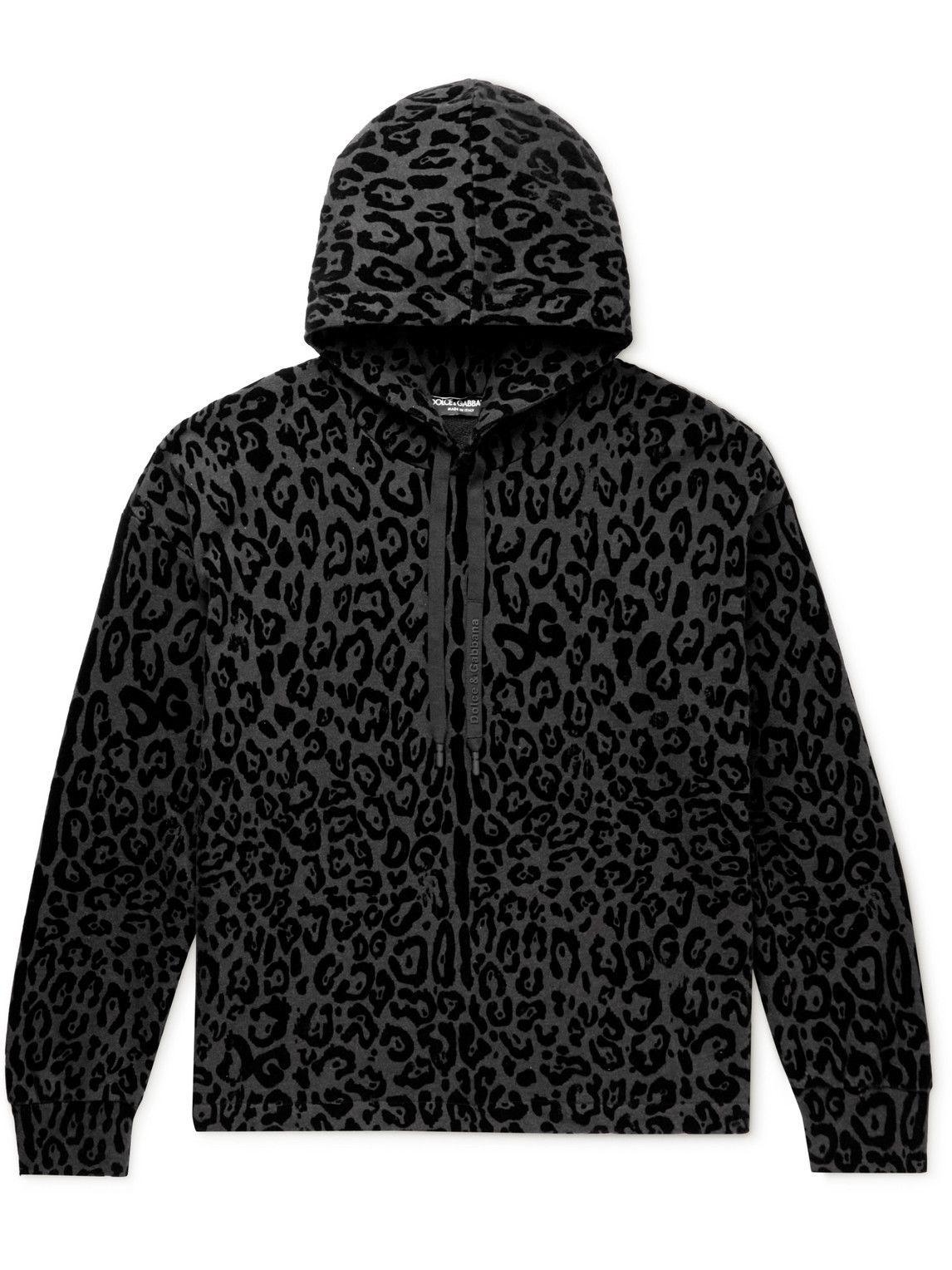 Photo: Dolce & Gabbana - Leopard-Flocked Cotton-Jersey Hoodie - Black
