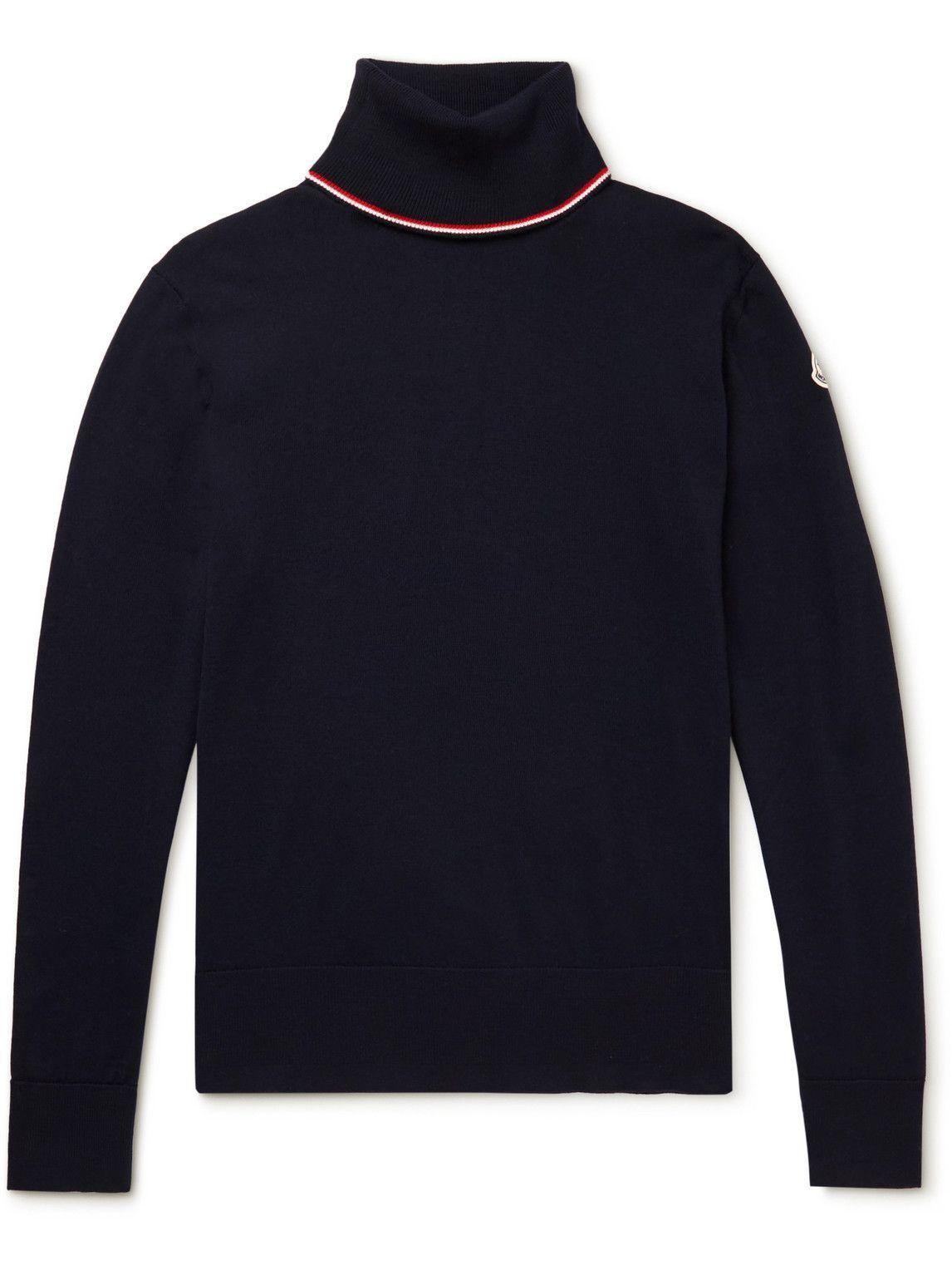 Photo: Moncler - Logo-Appliquéd Striped Virgin Wool Rollneck Sweater - Blue