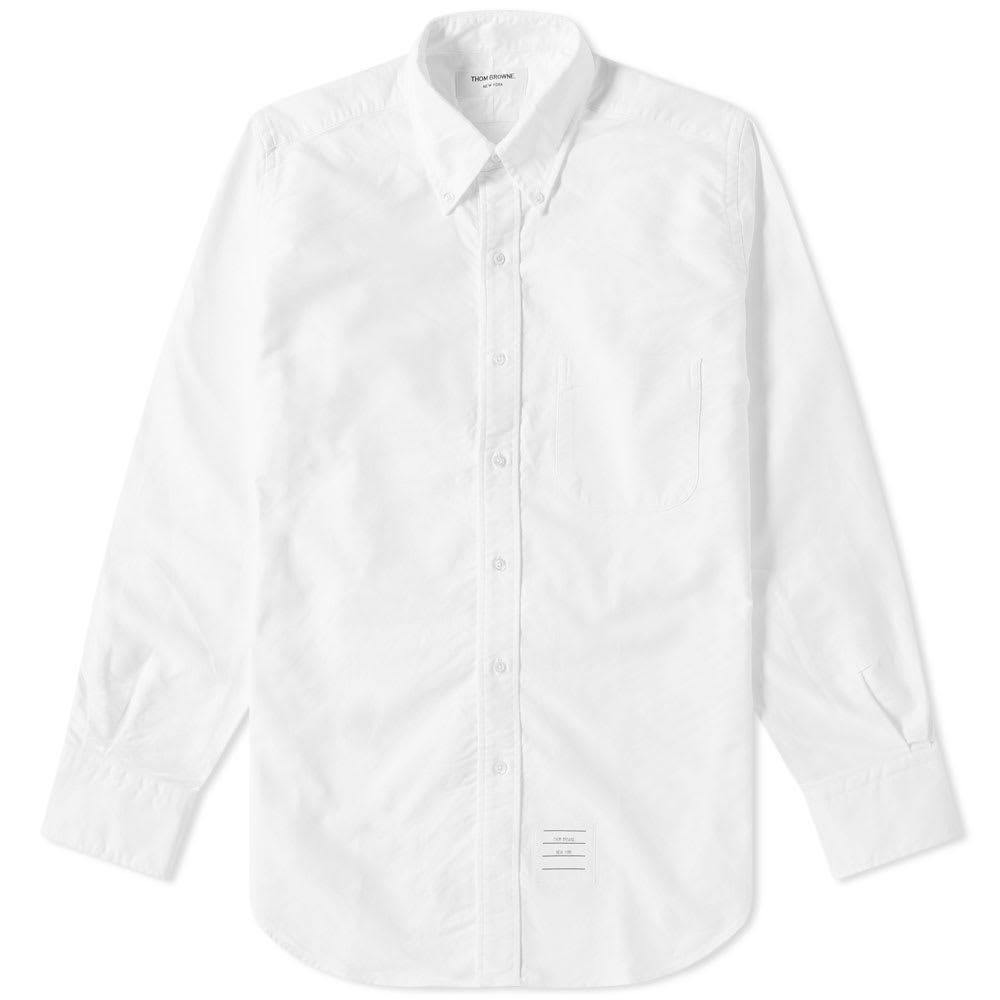 Photo: Thom Browne Classic Grosgrain Placket Oxford Shirt White