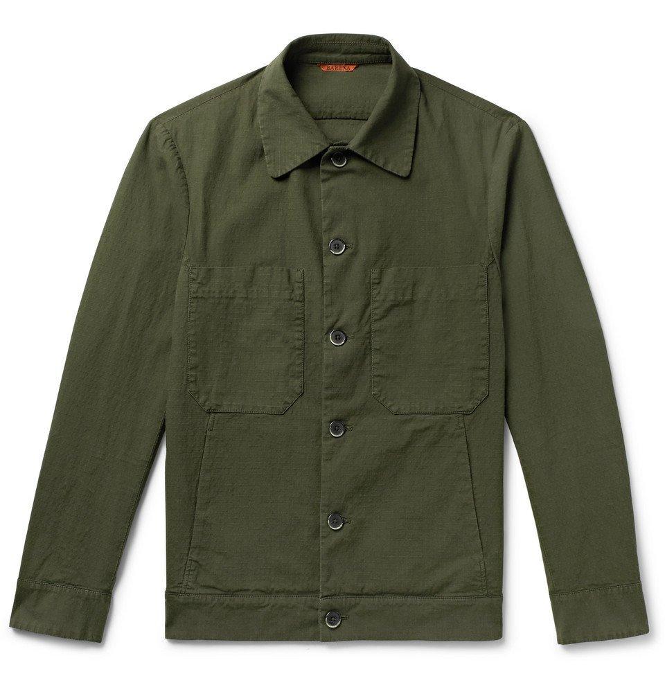 Photo: Barena - Cotton-Blend Ripstop Overshirt - Dark green