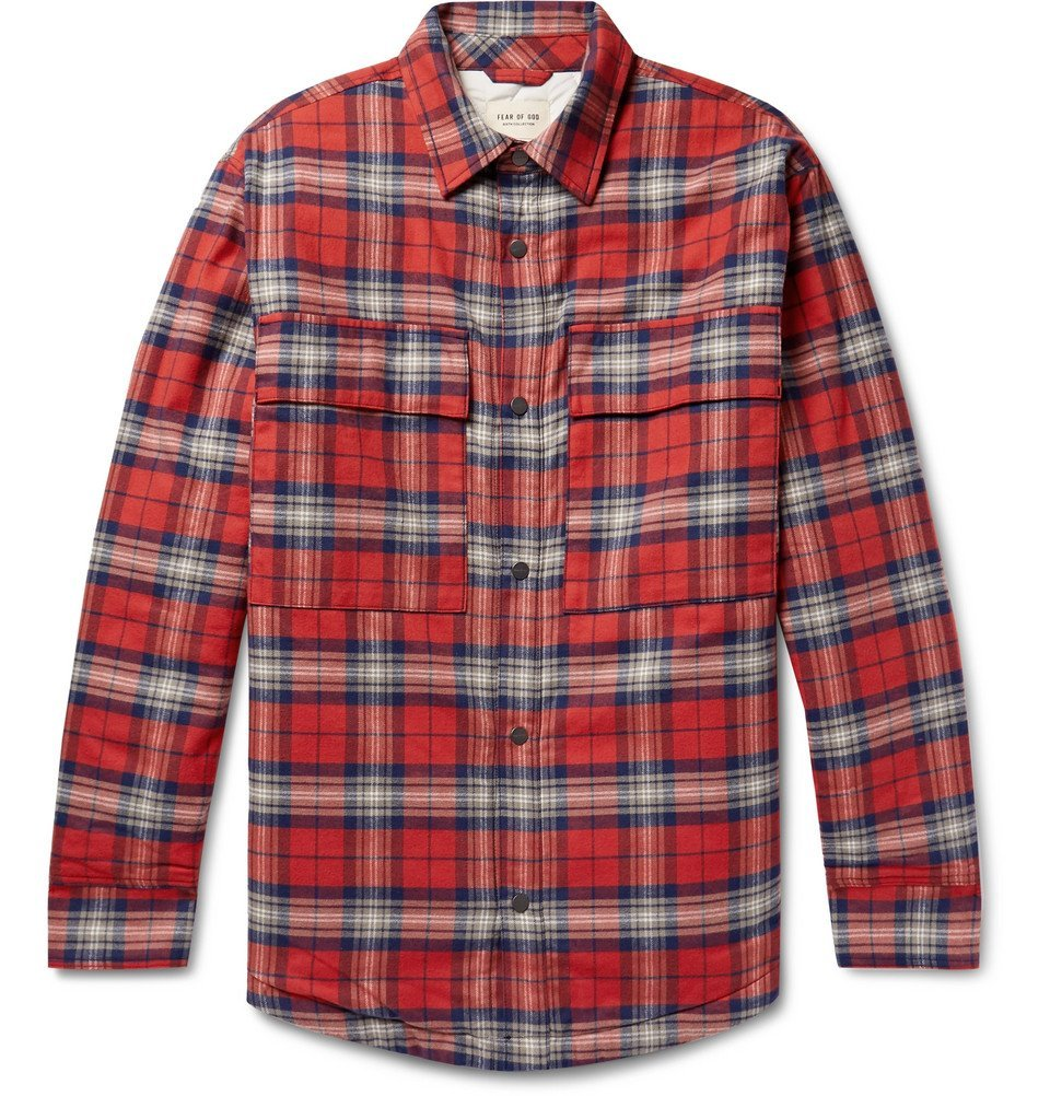 Photo: Fear of God - Checked Cotton-Flannel Overshirt - Red