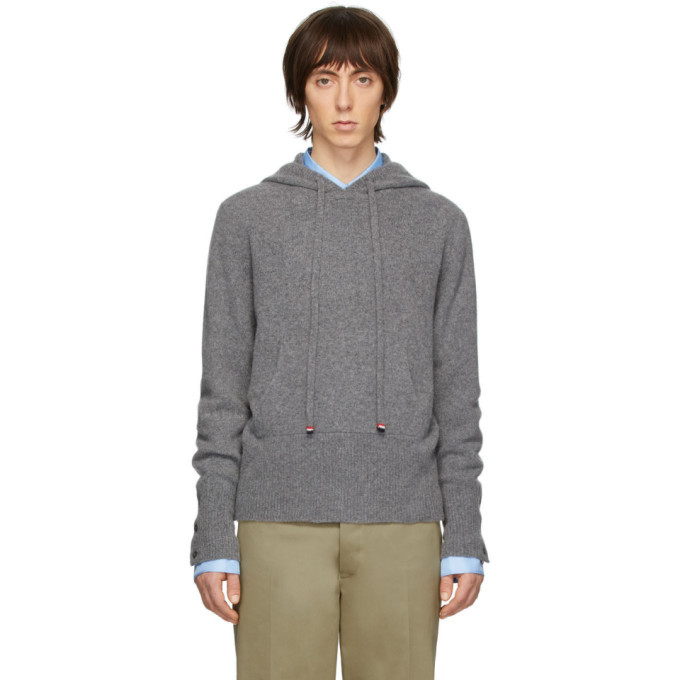 Photo: Thom Browne Grey Cashmere Over-Washed Hoodie