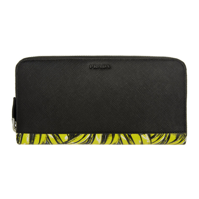 Photo: Prada Black and Yellow Saffiano Active Wallet