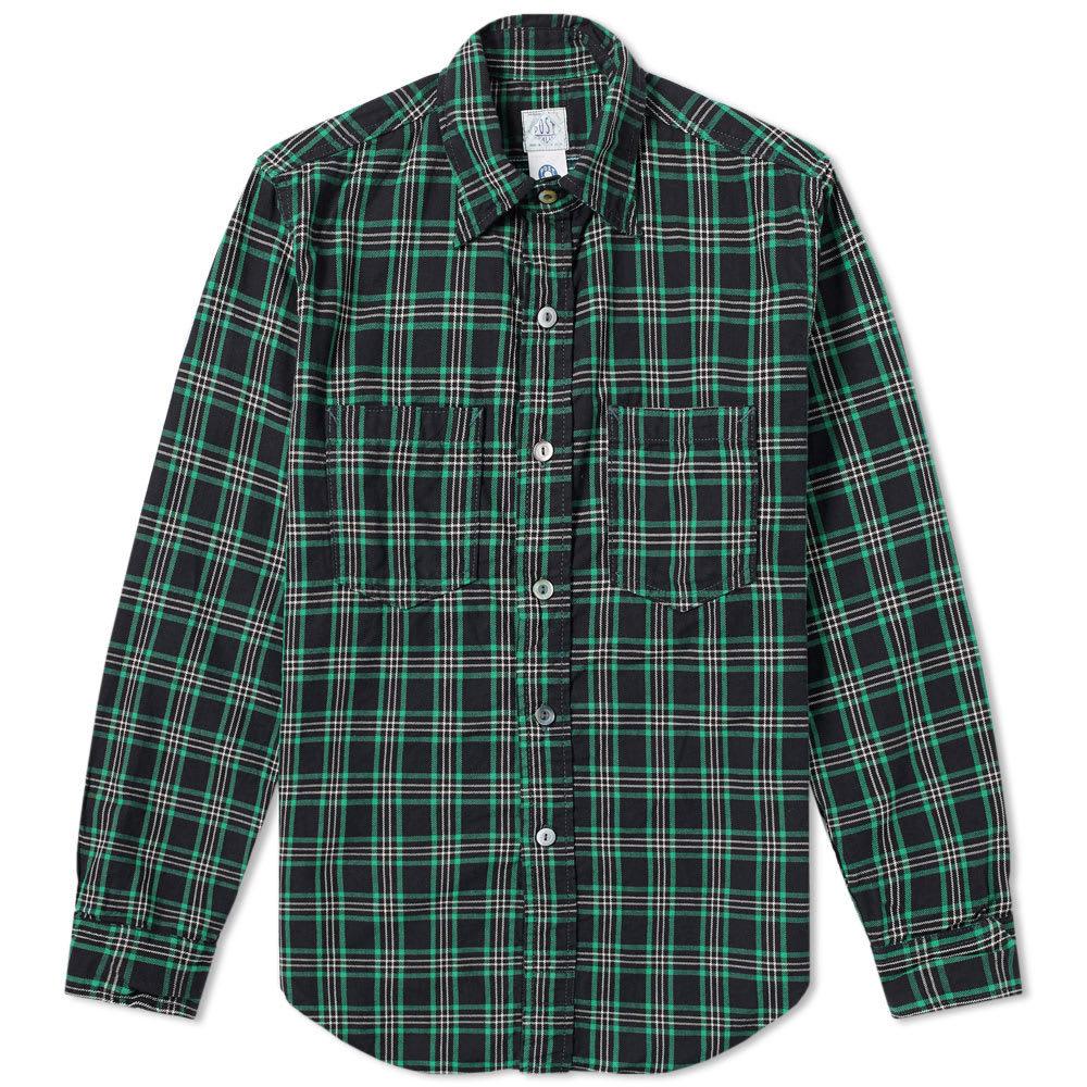 Photo: Post Overalls Flannel Check Shirt Black, Green & White