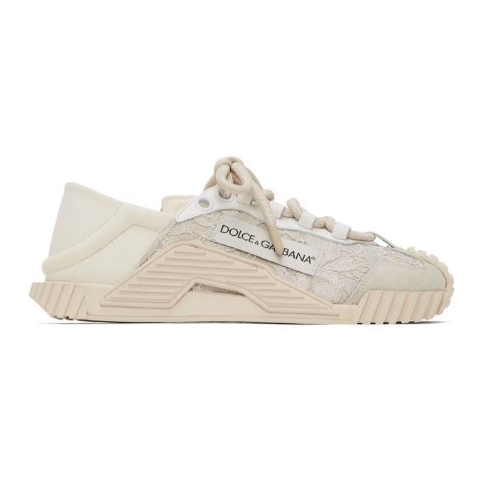 Photo: Dolce and Gabbana White Lace and Leather NS1 Sneakers
