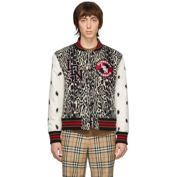 Photo: Burberry SSENSE Exclusive Black and White Padfield Bomber Jacket
