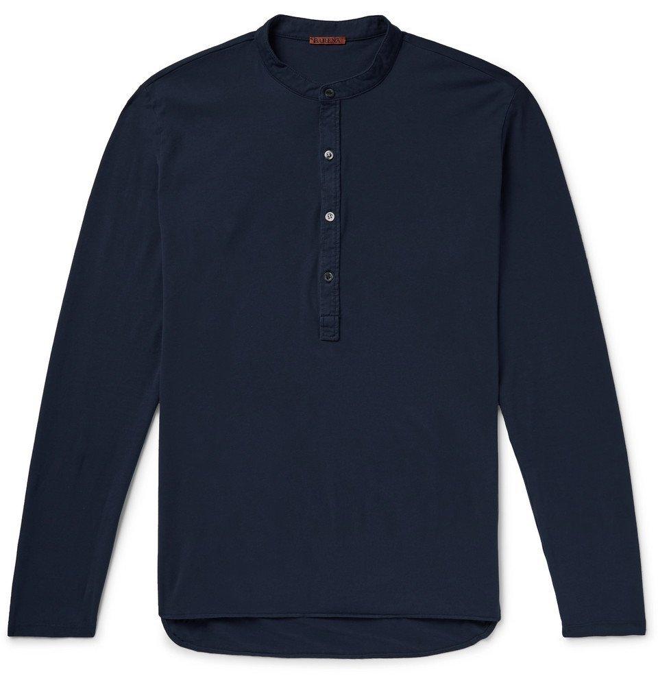 Photo: Barena - Nalin Cotton-Jersey Henley T-Shirt - Navy
