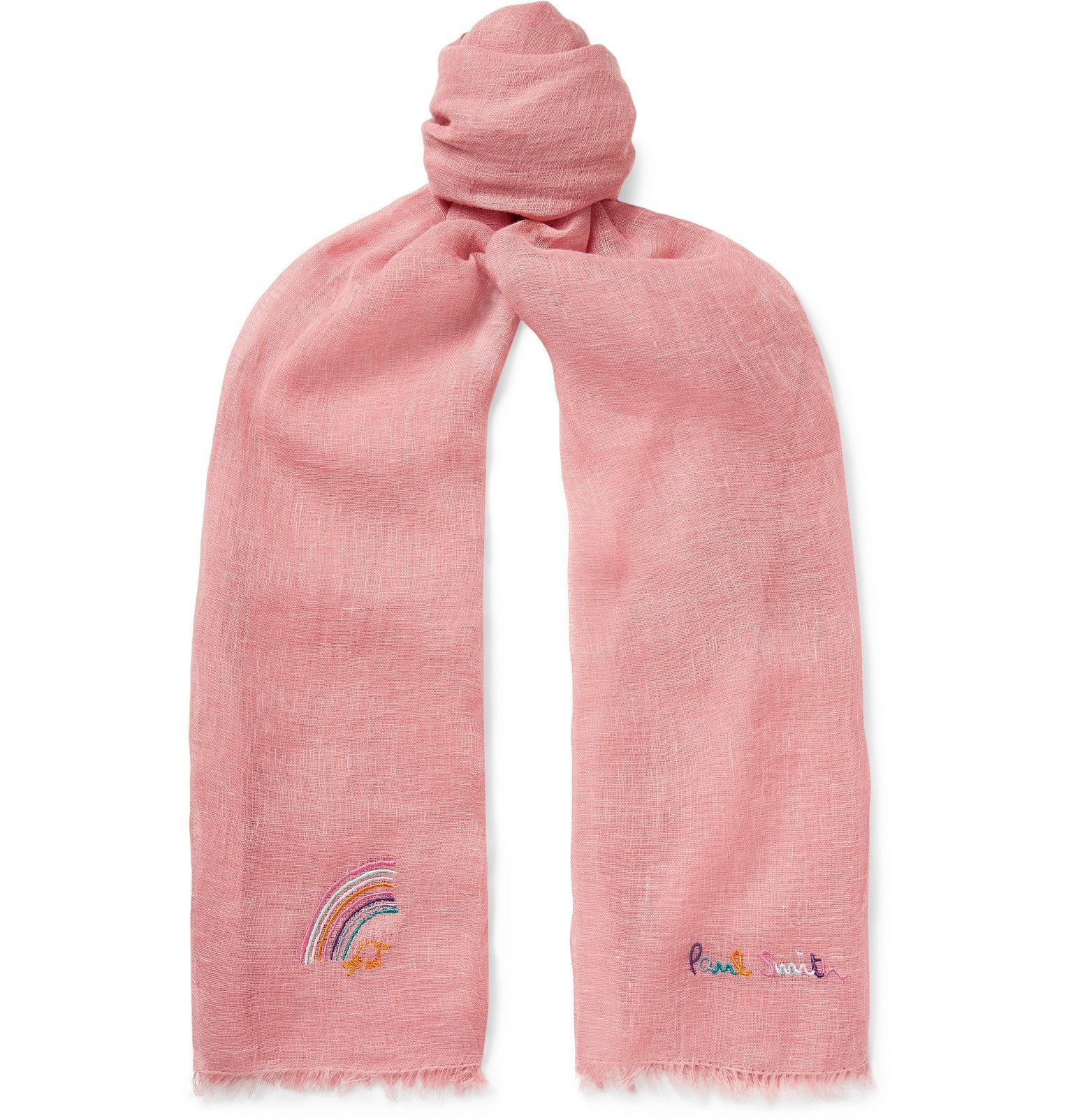 Photo: Paul Smith - Logo-Embroidered Linen Scarf - Pink